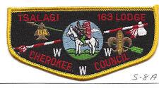 OA Lodge Tsalagi S8a Flap WHT Backstitch Cherokee Council Merged 1994 [Y762]
