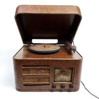 Needs Repair Vintage Crosley Tube Radio Turntable 53TP Record Player Wooden
