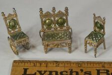 doll house furniture soft metal german painted 3 pieces chairs sofa antique
