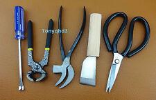 5pc LEATHER CRAFT COBBLER'S SHOE REPAIR  Multi Pliers Skiving Scissors TOOL KIT
