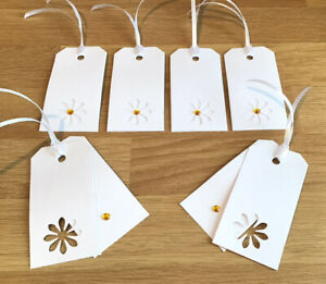 Luxury Daisy Gift Tags X 6 White Embellished Yellow Centre Friend Birthday