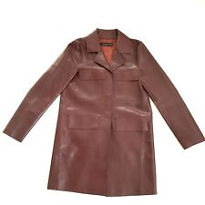Zara Woman Faux Leather Coat Blazer 3 Snap Buttons Size S Small Burgundy Red