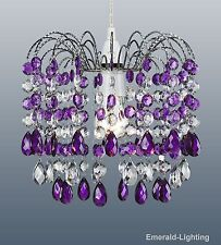 Purple ceiling lights and chandeliers ebay barcelona purple plum crystal waterfall cascade chandelier pendant light shade mozeypictures Images