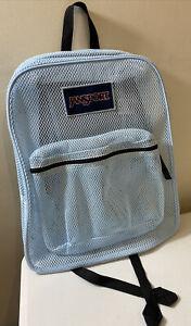 JANSPORT Light Blue Mesh Backpack School Gym Travel Book Bag Laptop Sports