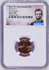 """2019 W First """"W"""" Uncirculated Cent First Releases NGC MS67 RD Portrait Label"""