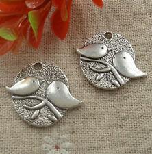 Free Ship 60 pcs tibetan silver bird charms 28X25mm L-2074