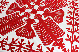Red & White - Hawaiian design QUILT TOP - All Hand Applique ! - Queen Sized