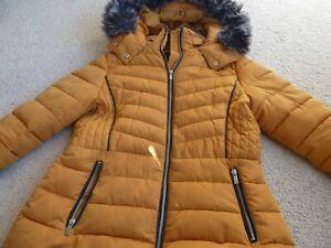 New Look Mustard Padded Jacket Coat Detachable Fur Collar On Hood Size 12 uk