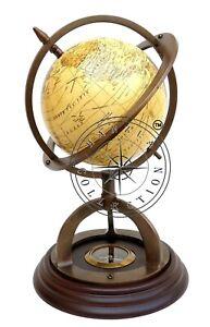 """11"""" Antique Brass World Globe Map on Wooden Compass Base Nautical Desktop Decor"""