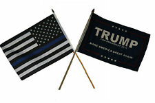 "12x18 12""x18"" Wholesale Combo USA Police Blue & Trump President Blue Stick Flag"