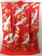 Elegant Uchikake Wedding Kimono with Golden Fans and Cranes!!