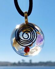 ULTRAPURE QUARTZ Positive Energy Orgone Dome Pendant with Amethyst and Hematite.