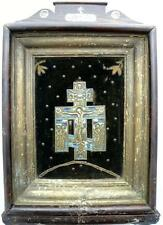 CROSS 19c BRASS ICON Crucifixion with the Mourners in KIOT