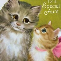 Vintage Mid Century Birthday Greeting Card Cute Gray Tan Kittens Cats Pink Bow