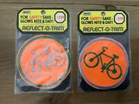 "Vintage Patch Lot of 2 Bicycle Safety Reflect O Trim 1974 Round 3"" NOS USA"