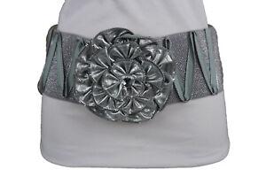 Bling Women High Waist Hip Elastic Wide Corset Belt Silver Zipper Flower S M L
