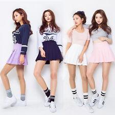 New Korean fashion pleated skirt mini flare high waist dress pastel tumblr size