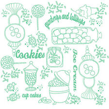 Gumdrops Lollipops SWEETSHOPPE TOILE Green white 100% cotton fabric by the yard