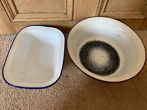 Large Enamel Wash Bowls ~ vintage style X 2