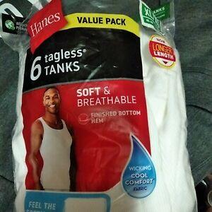 Hanes Men's 6 Tagless Size Xl White Tank Tops *open bag*