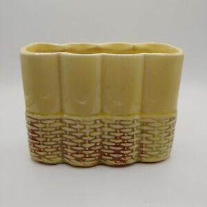 """Vintage Mccoy Yellow Planter Wicker Basket Design Base 5.5""""x4.25""""x2.75"""""""