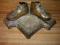 Bronzed Shoes desk set with ashtray dated 1944 WWII era Vintage brass mounted