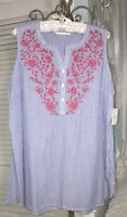 NEW~ Plus Size 1X 2X Blue White Striped Pink Embroidery Floral Top Shirt Blouse