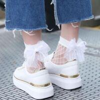 Hot Sell Fashion women tulle bowknot socks mesh lace fishnet short socks