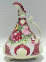 "Antique 9.5"" Royal Kinran Nippon Japan Hand Painted Flower Pitcher Ewer #4695"