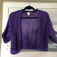 Chicos Purple Open Front Open Knit Crop Cardigan Shrug Sz 1 A2349