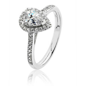 Silver & Co Pear Shape Halo CZ Engagement Ring