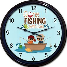 """Fishing With Dad Wall Clock Fathers Day Boy Son Fish Trout Fisherman New 10"""""""