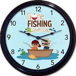 Fishing With Dad Wall Clock Fathers Day Boy Son Fish Trout Fisherman New 10""