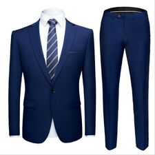 Mens Business Suits Slim fit One buttons Work Blazer jackets Pants Formal Casual