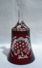 Vintage Ruby Red Crystal Clear Glass Bells Etched Frosted Great Tones Ec