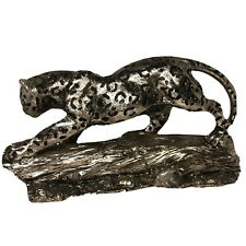 Spotted Cheetah Resin Sculptured Statue. Color: Deep Silver w/slight Bronze Tint