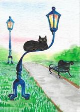 PRINT OF ACEO WATERCOLOR PAINTING RYTA BLACK CAT PARK SPRING LANDSCAPE SUMMER