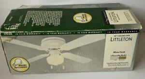 "Hampton Bay Littleton 42"" Ceiling Fan Reversible 4-Blade 3-Speed W/Light White"