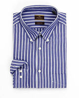 Alfa Perry Slim Fit Blue Striped Button-Down Collar Cotton Oxford Dress Shirt