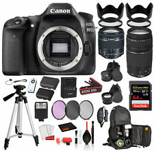 Canon EOS 80D Digital SLR Camera with EF-S 18-55mm is STM and EF 75-300mm Lens