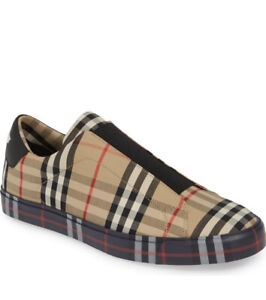 Authentic Burberry Markham KC Trainer Archive Beige Slip-on Sneakers Size 12