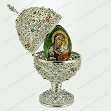 """5.4"""" EASTER FILIGREE EGG ICON RELIGIOUS ST-PETERSBURG RUSSIAN FABERGE TRADITIONS"""