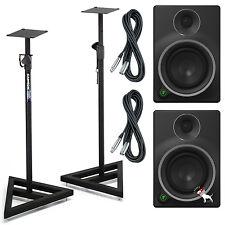 Mackie MR5 MK3 Powered Studio Speaker Monitors Pair w/ Stands & XLR Cables