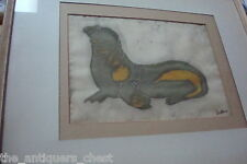 "Oil on silk painting of a seal, signed ""Kristine"", professionally framed"