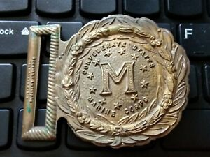 London England PURDY  Vintage brass belt buckle Confederate States Marine Corps.