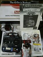 Hitec X 5 Radio Transmitter Receiver Set Kit Charger Super Slim Dual Conversion