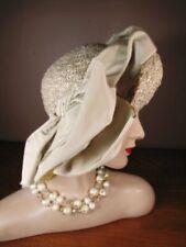 Vintage 1940s 1950s Bone Ecru Straw Big Bow Asymmetrical Hat Jeanette Gaffin L77