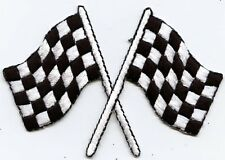 Iron On Embroidered Applique Patch Racing Race Flags Black White Checkered XL
