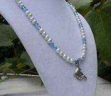 "18"" Blue Pearl Aqua Swarovski Crystal Necklace Sterling Silver Dolphin Pendant"