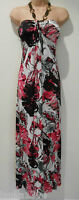 Black & Red Floral Bandeau Wooden With Necklace Maxi Long Dress (New) UK size 10